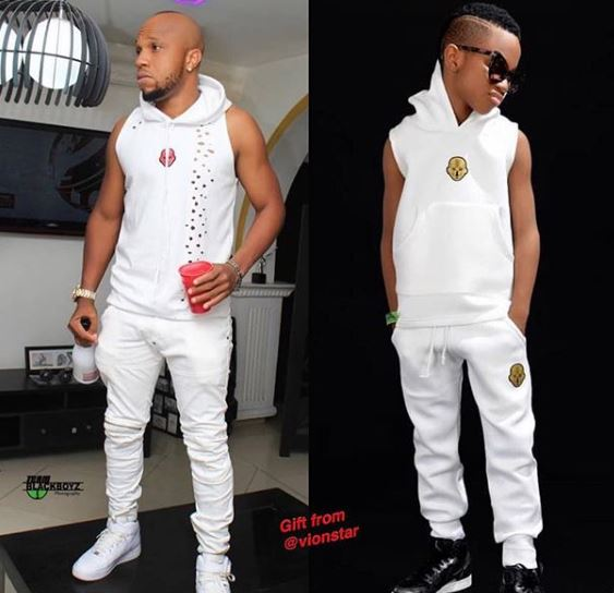 Nollywood Actor, Charles Okocha Steps out in Matching outfit with Son