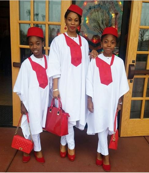 Actress, Georgina Onuoha with Daughters Slay in Agbada outfit