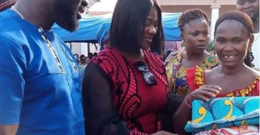 Actress, Mercy Johnson, Hubby Donates Food Materials to Community