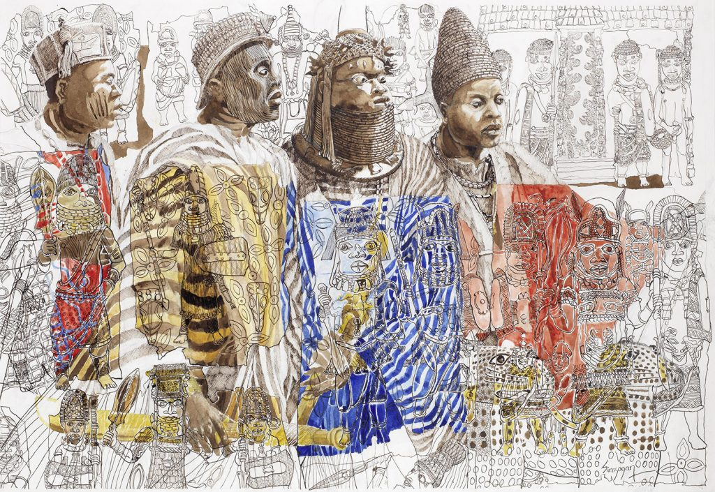 Painting of four Yoruba kings wearing colorful clothing and elaborate crowns, sworn to protect the sacred city of Ile-Ife, by Julian Sinzogan.
