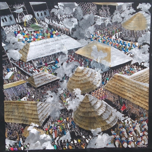 Painting of a Yoruba royal court like the one of Ile-Ife, seen from above, with thatched roofs and people crowding the streets. Piece by Julian Sinzogan.